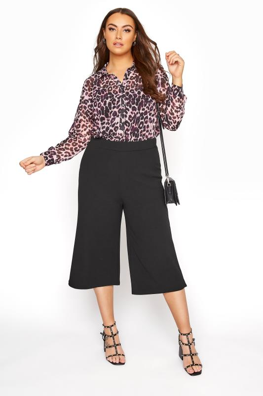 YOURS LONDON Black Wide Leg Culottes
