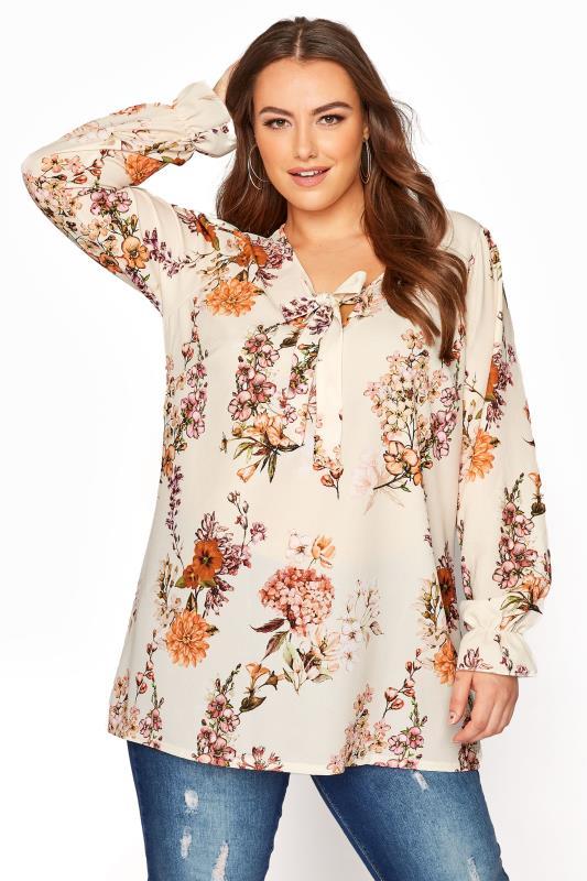 Plus Size  YOURS LONDON Natural Floral Bow Front Blouse