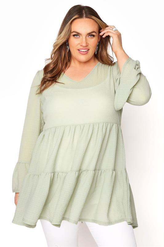 YOURS LONDON Sage Green Ruffle Sleeve Tiered Smock Top_A.jpg