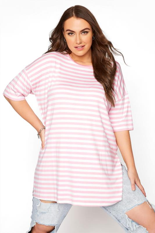Plus Size  Pink Stripe Oversized T-Shirt