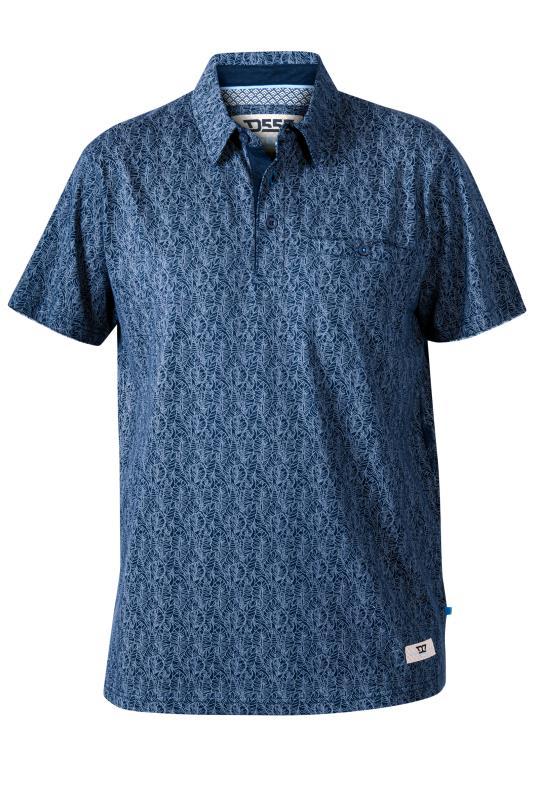 Men's  D555 Blue Floral Print Polo Shirt