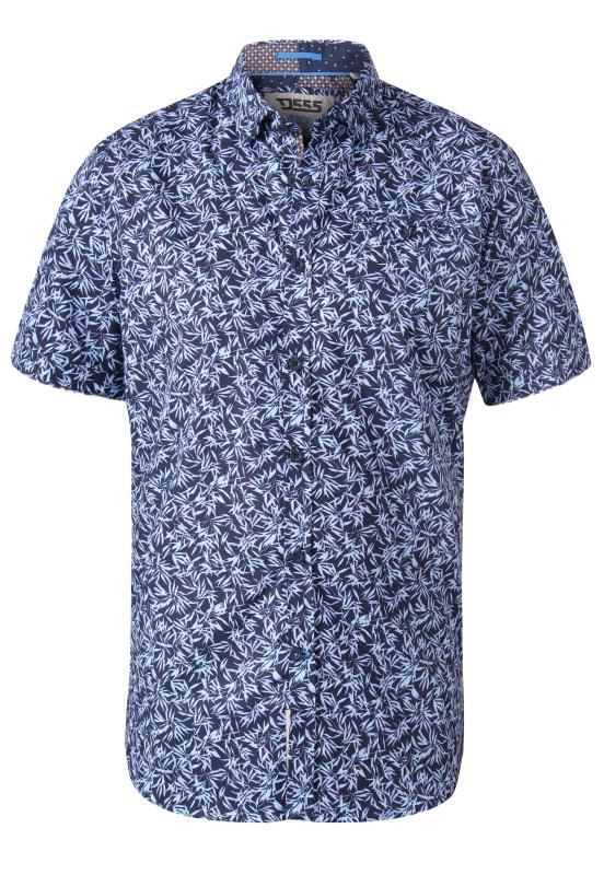 Men's  D555 Navy Hawaiian Palm Leaf Print Short Sleeve Shirt