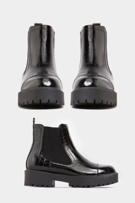 LIMITED COLLECTION Black Patent Croc Platform Chelsea Boots In Wide Fit_A.jpg