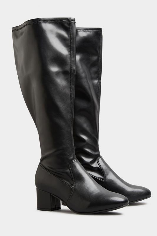 Black Faux Leather Stretch Knee Boots In Extra Wide Fit_B.jpg
