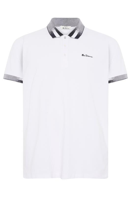 Plus Size  BEN SHERMAN White Contrast Detail Polo