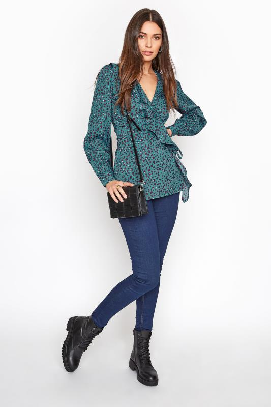 LTS Teal Blue Animal Print Wrap Blouse