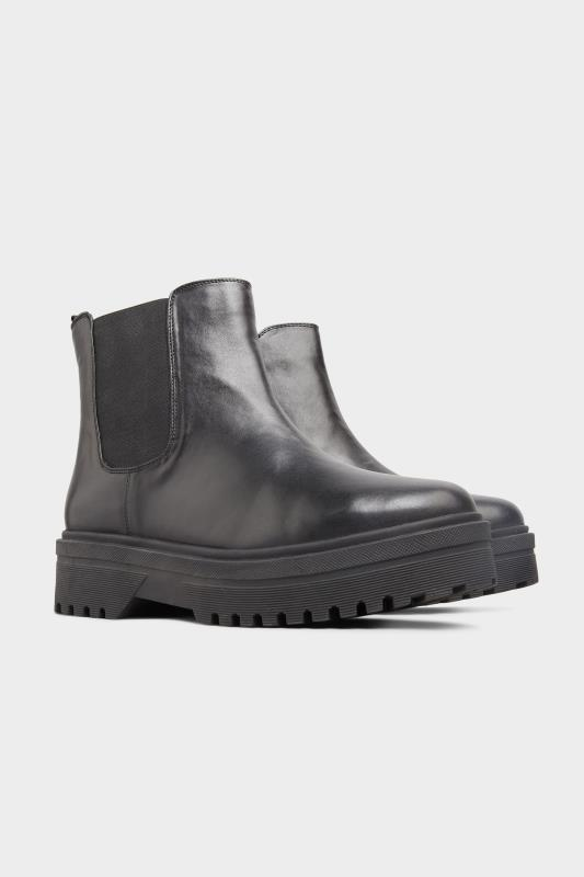 LIMITED COLLECTION Black Vegan Faux Leather Platform Chelsea Boots In Extra Wide Fit_B.jpg