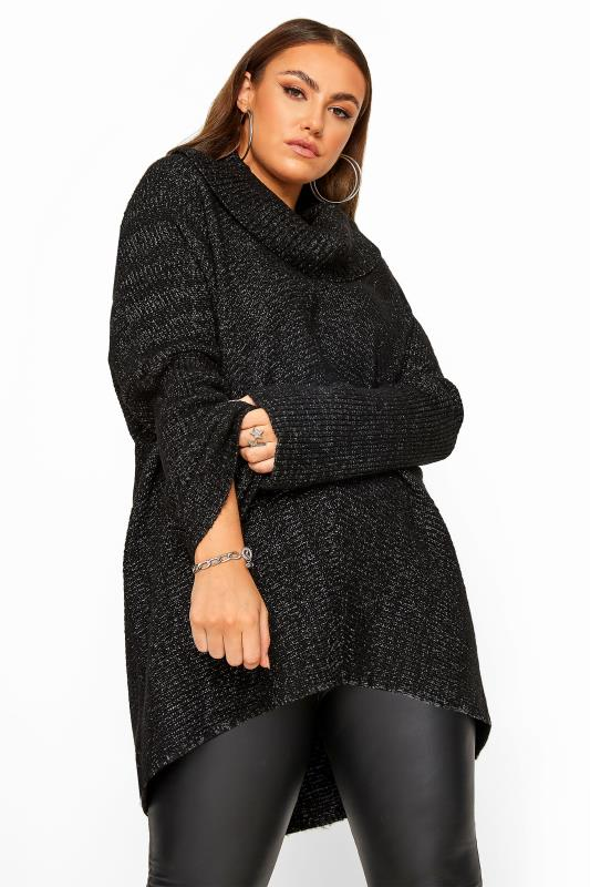 Plus Size Jumpers Black Marl Chevron Oversized Roll Neck Knitted Jumper
