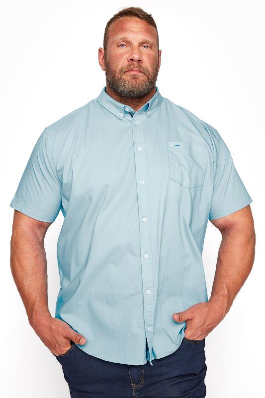 Men's Casual / Every Day BadRhino Light Blue Cotton Poplin Short Sleeve Shirt