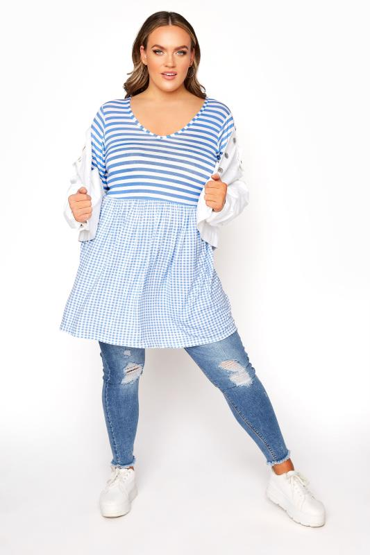 LIMITED COLLECTION Pale Blue Gingham Stripe Mix Top_B.jpg