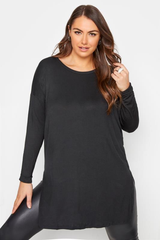 Plus Size  Black Long Sleeve Oversized T-Shirt
