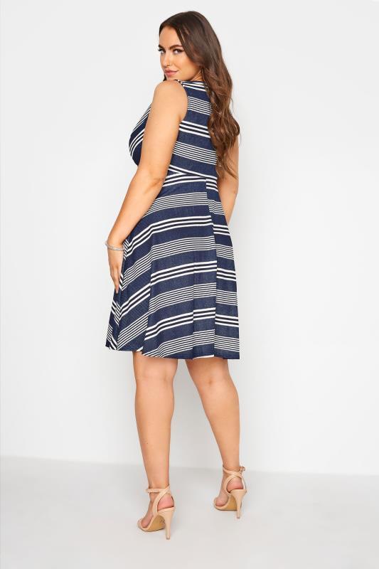 Blue Stripe Wrap Skater Dress_C.jpg