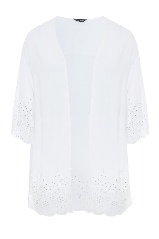 Plus Size  White Broidery Anglaise Cover Up
