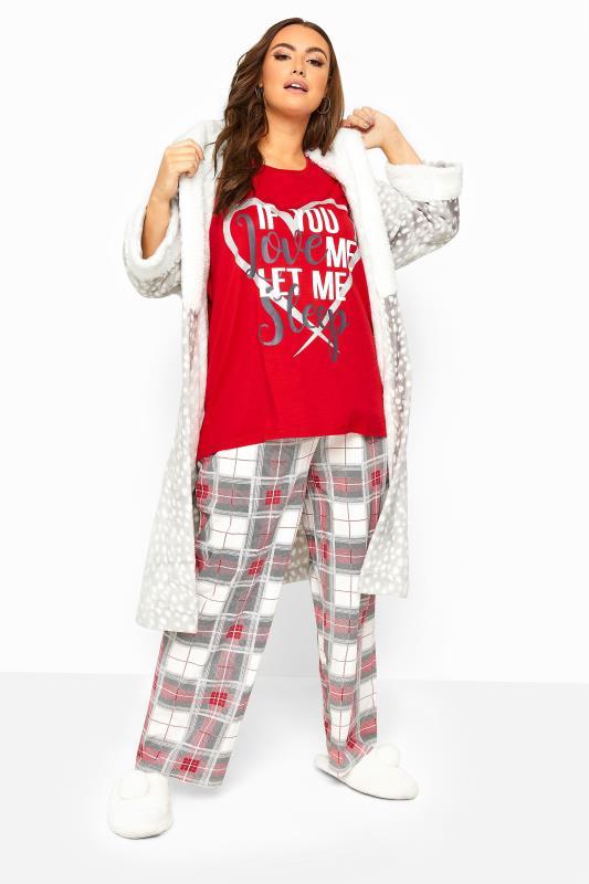 Plus Size  Red Glitter Check Wide Leg Pyjama Bottoms