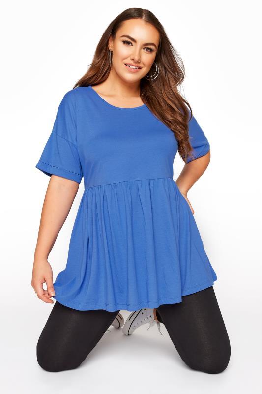 Plus Size  Blue Peplum Drop Shoulder Tunic