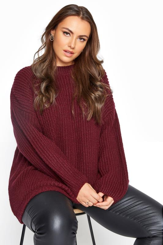 Plus Size  Burgundy Wide Balloon Sleeve Chunky Knitted Jumper