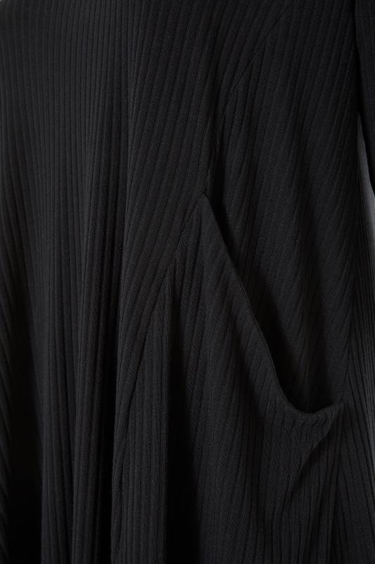 Black Ribbed Drape Pocket Dress_S.jpg