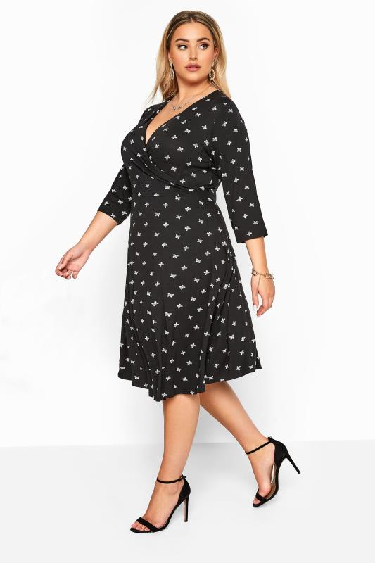 YOURS LONDON Black Butterfly Print Wrap Dress