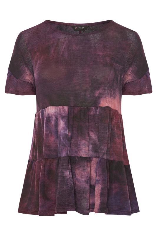 Grande Taille Purple Tie Dye Smock Top