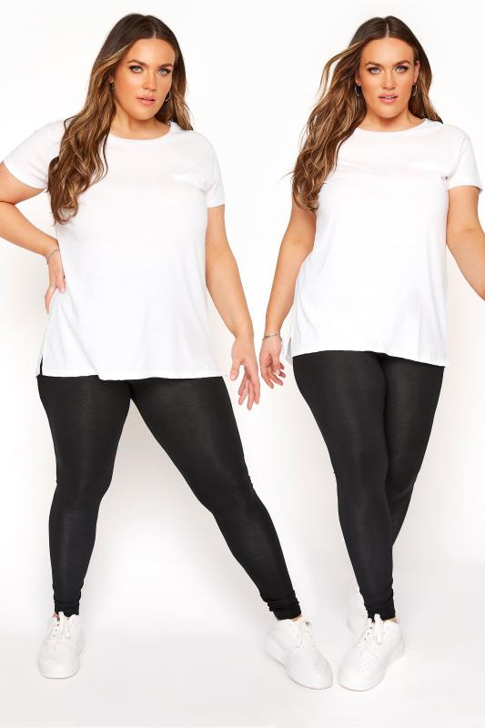 Plus Size Basic Leggings 2 PACK Black Soft Touch Viscose Leggings