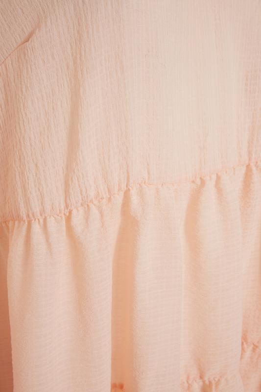 YOURS LONDON Natural Pink Ruffle Sleeve Tiered Smock Top_S.jpg