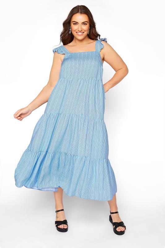 YOURS LONDON Blue Stripe Frill Tiered Midi Dress_A.jpg