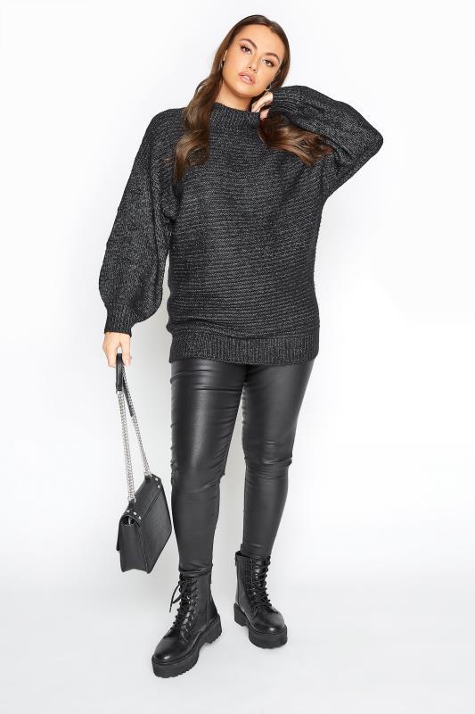 Black Marl Balloon Sleeve Chunky Knitted Jumper