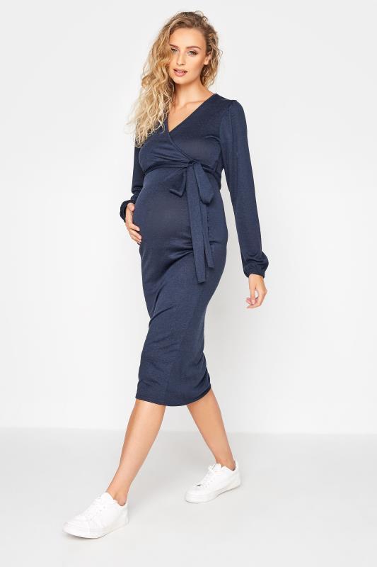 LTS Maternity Navy Wrap Ruched Midi Dress_A.jpg