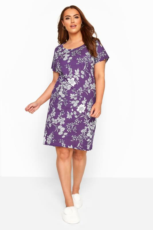 Plus Size Nightdresses & Chemises Purple Iris Floral Nightdress