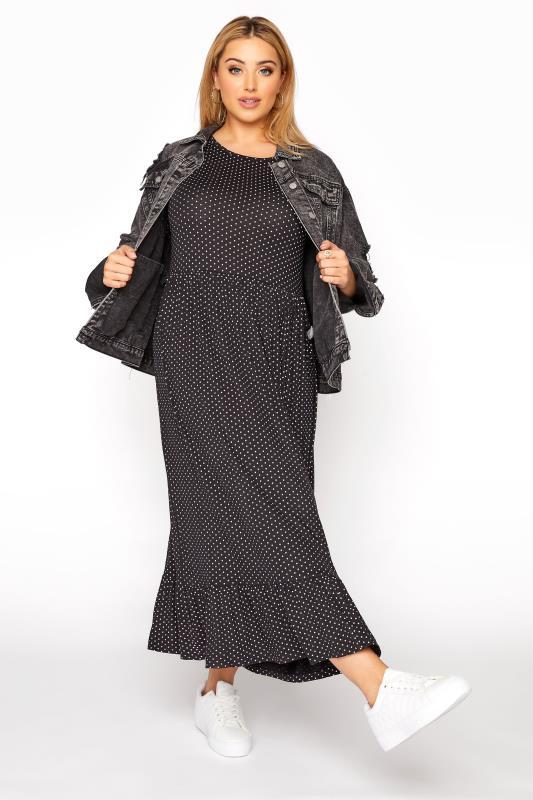 LIMITED COLLECTION Black Polka Dot Smock Midaxi Dress_B.jpg