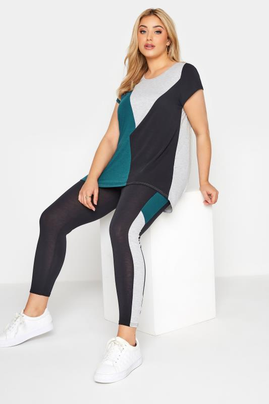 LIMITED COLLECTION Black & Teal Colour Block Leggings_A.jpg