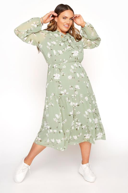 Großen Größen  YOURS LONDON Sage Green Floral Bow Smock Dress