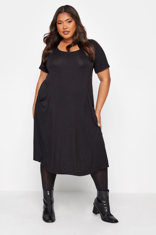 Plus Size  Black Drape Pocket Midi Dress