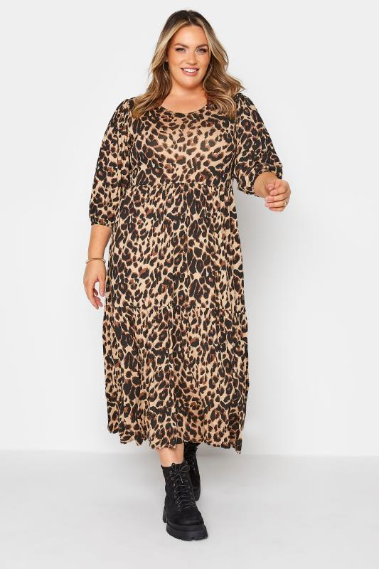 Plus Size  Beige Animal Print Midaxi Dress