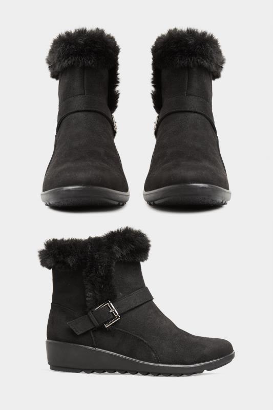 Black Vegan Suede Wedge Heel Buckle Ankle Boots In Extra Wide Fit_split.jpg
