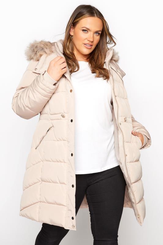 Plus Size  Cream Chevron Midi Puffer Coat