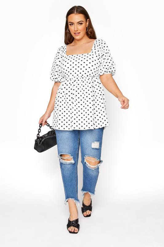 LIMITED COLLECTION White Polka Dot Milkmaid Top