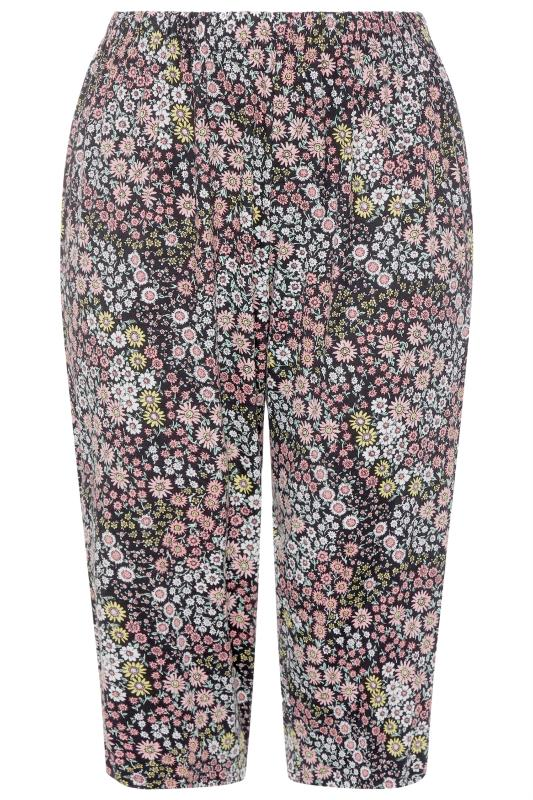 Plus Size  LIMITED COLLECTION Black Floral Print Cropped Lounge Trousers