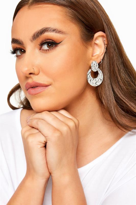Yours Silver Hammered Door Knocker Earrings