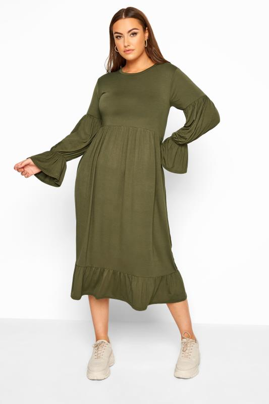 LIMITED COLLECTION Khaki Smock Tiered Sleeve Midi Dress