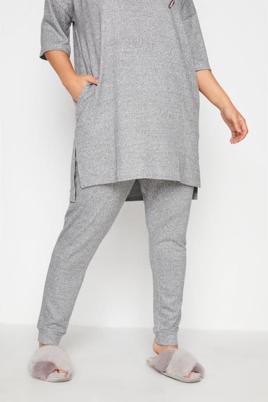 dla puszystych Grey Soft Touch Knitted Lounge Pants