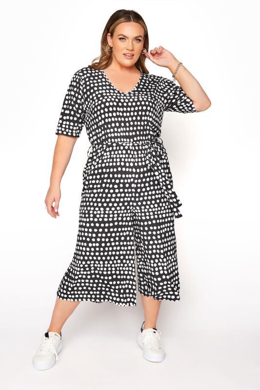 Plus Size  YOURS LONDON Black Polka Dot Culotte Jumpsuit