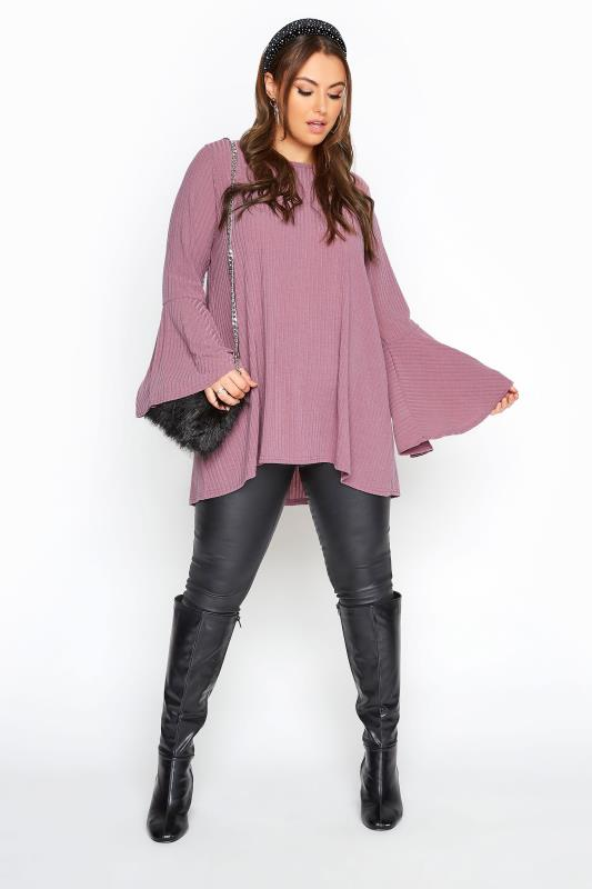 LIMITED COLLECTION Mauve Purple Ribbed Flare Sleeve Top