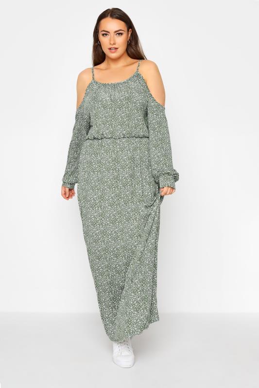 Green Floral Cold Shoulder Maxi Dress_A.jpg