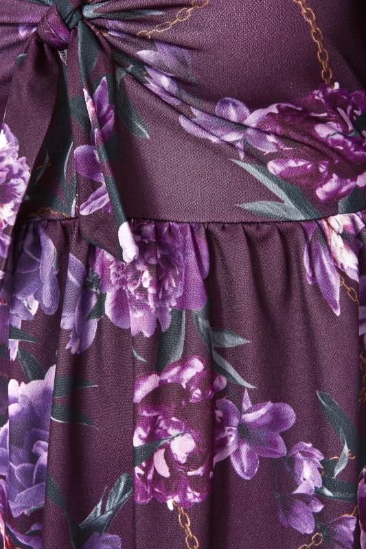 YOURS LONDON Purple Floral Bow Front Dress_S.jpg
