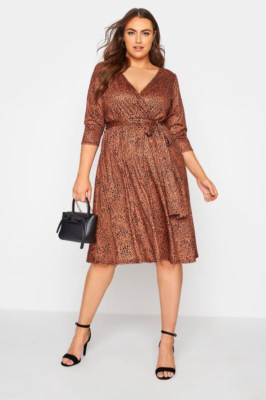 YOURS LONDON Brown Dalmatian Print Wrap Midi Dress_B.jpg
