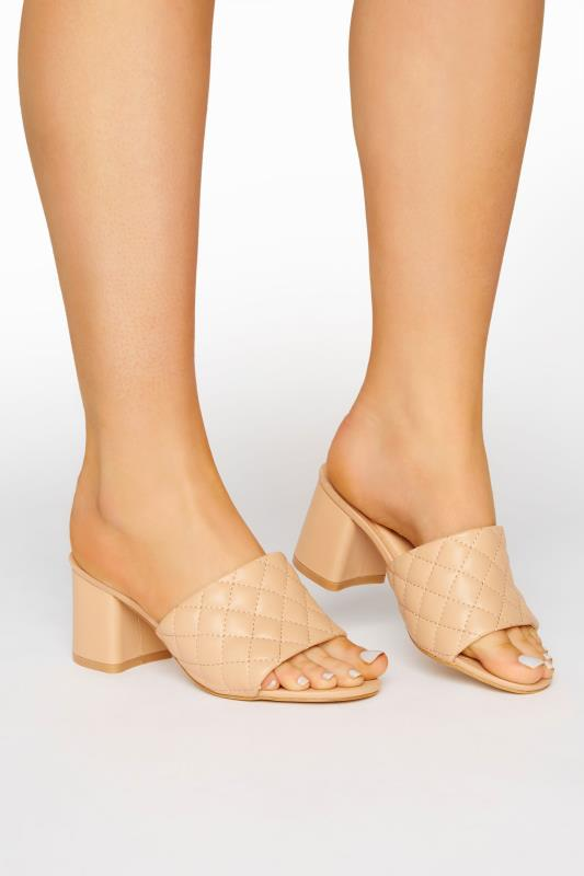 Grande Taille LIMITED COLLECTION Nude Quilted Heeled Mules In Extra Wide Fit