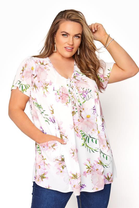 Plus Size  White Floral Lace Up Pocket Top