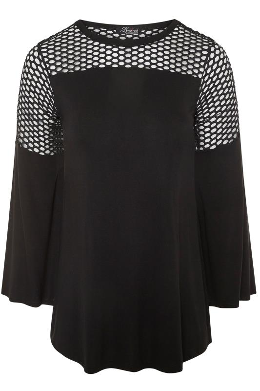 LIMITED COLLECTION Black Fishnet Insert Flare Sleeve Top