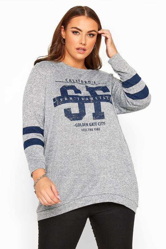 Plus Size Casual / Every Day Grey Varsity Dipped Hem Sweatshirt
